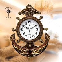 【天天特价】北极星船舵石英挂钟客厅静音舵手钟表创意时尚欧式钟