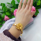 镀黄金手链女大气夸张玫瑰花朵手链沙金久不掉色时尚 欧币饰品 新款