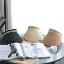 韩国气质女帽可爱蝴蝶结发箍遮阳空顶帽遮阳帽海边沙滩草帽骑车帽