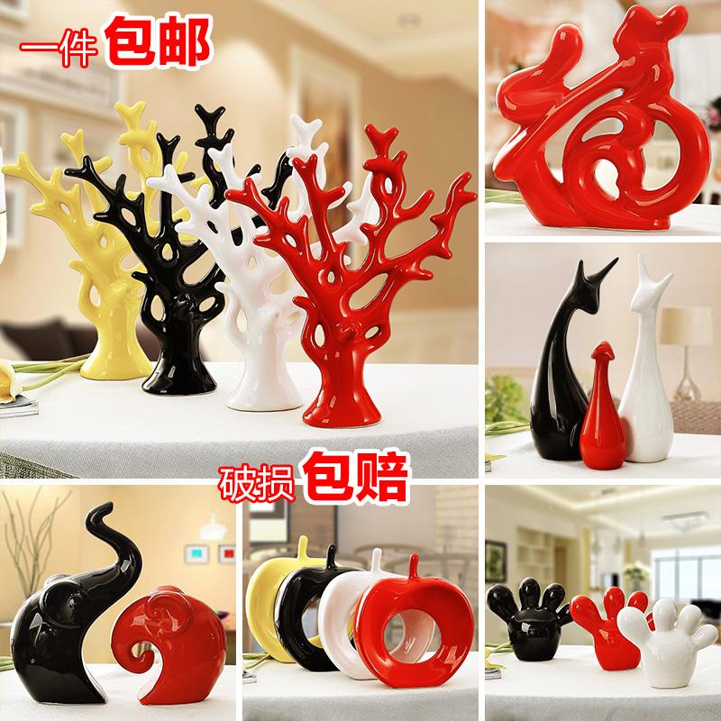 景德镇现代陶瓷工艺礼品家居装饰品客厅电视柜摆件创意饰品发财树