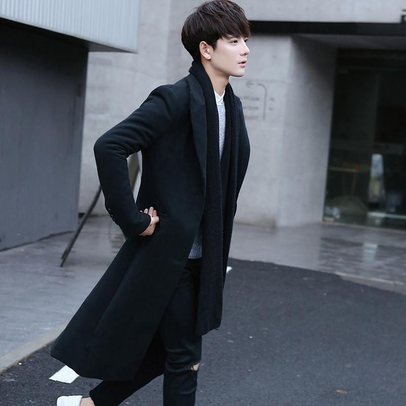 秋冬风衣男长款超长过膝男装潮韩版加厚毛呢大衣男修身外呢子套冬