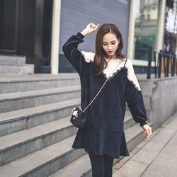 2016秋冬新款韩版宽松长袖学生套头中长款卫衣圆领拼接连衣裙女