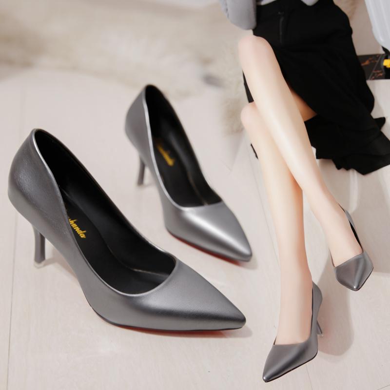 单鞋时尚防滑尖头高跟鞋欧美女鞋