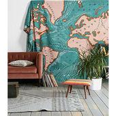饰巾多功能大盖布 北欧蓝色海洋地图挂毯风景挂布户外野餐垫墙壁装图片