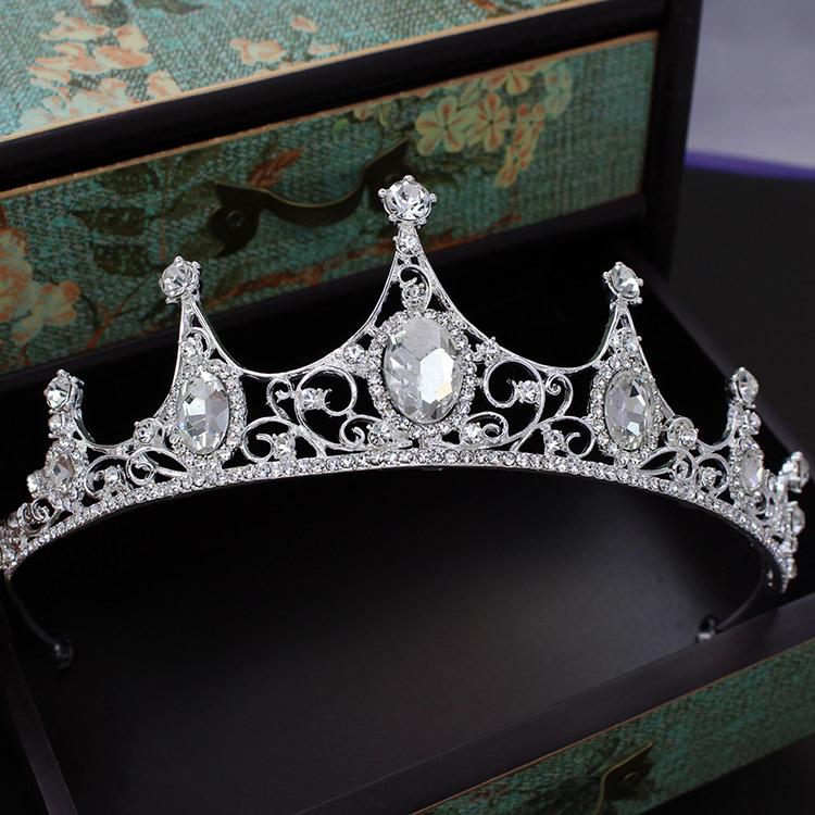新娘饰品欧式白色镶钻水晶皇冠头饰结婚礼服婚纱王冠发饰