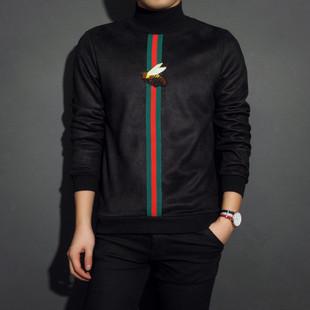 冬季鹿皮绒小蜜蜂男士卫衣半高领加绒韩版圆领男款套头外套潮学生