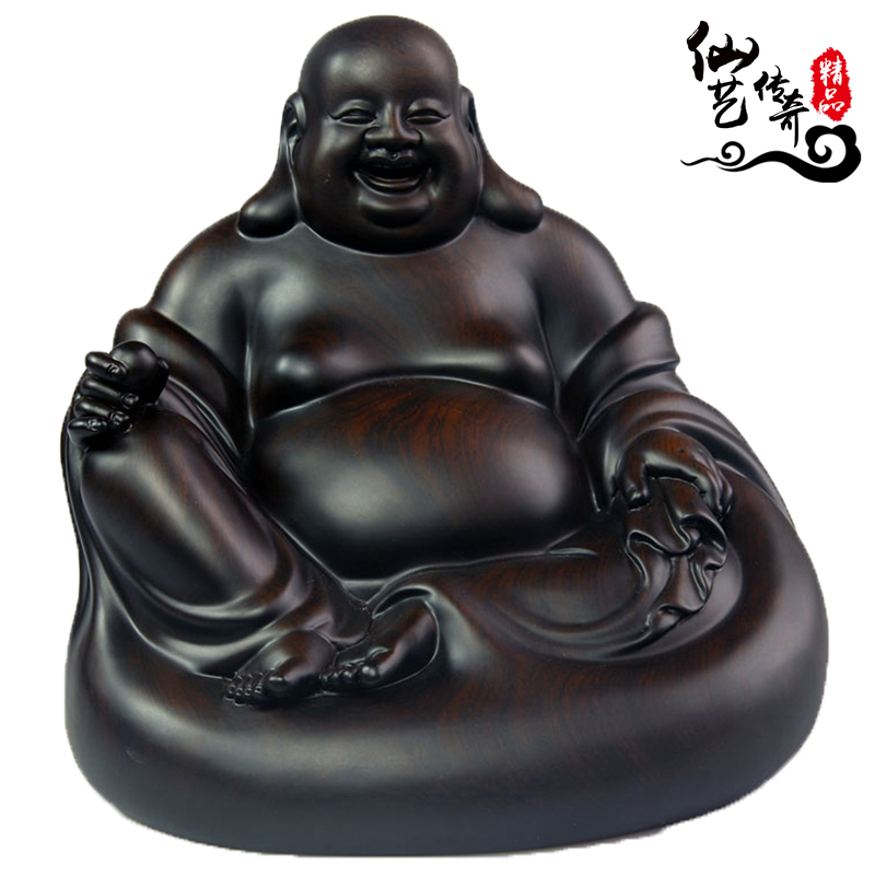 黑檀木雕弥勒佛像实木招财坐笑佛家居客厅饰品红木品