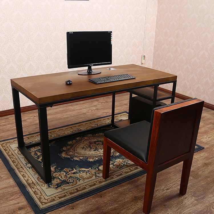 台式电脑桌简易实木办公桌复古做旧家用书桌带主机托