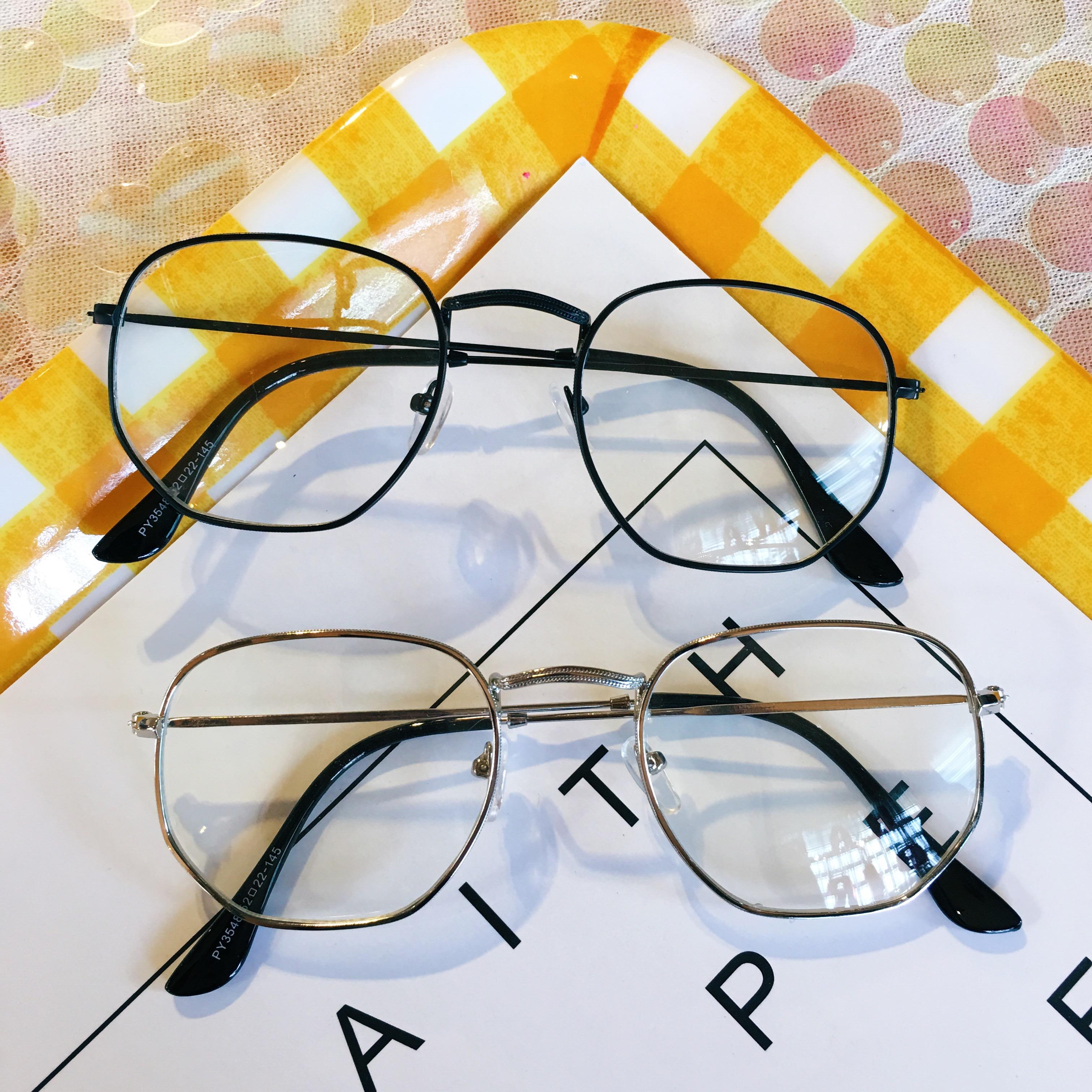 包邮韩版眼镜个性男女款文艺复古多边形眼镜框架细框全框不规则