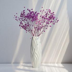 干花花瓶小清新白色欧式满天星现代简约陶瓷客厅餐桌摆件插花花器