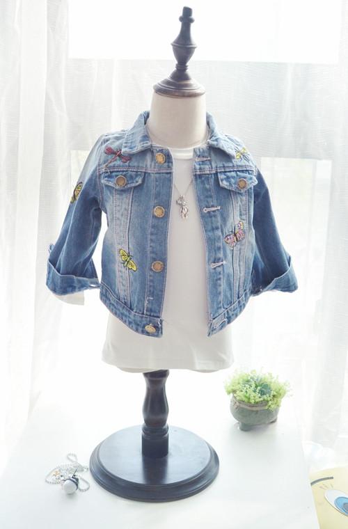 淺藍色外套刺繡兒童牛仔女童春裝童裝