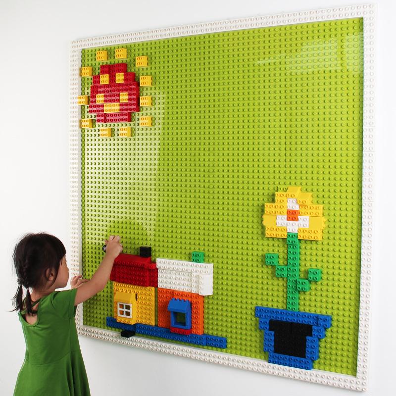 幼儿园积木墙壁 兼容乐高大颗粒积木底板拼装建构玩具 儿童积木墙