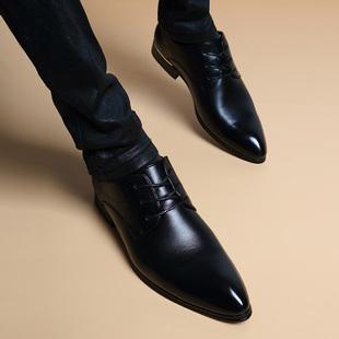 冬季加绒尖头系带真皮内增高6cm皮鞋男士英伦韩版正装休闲男鞋子