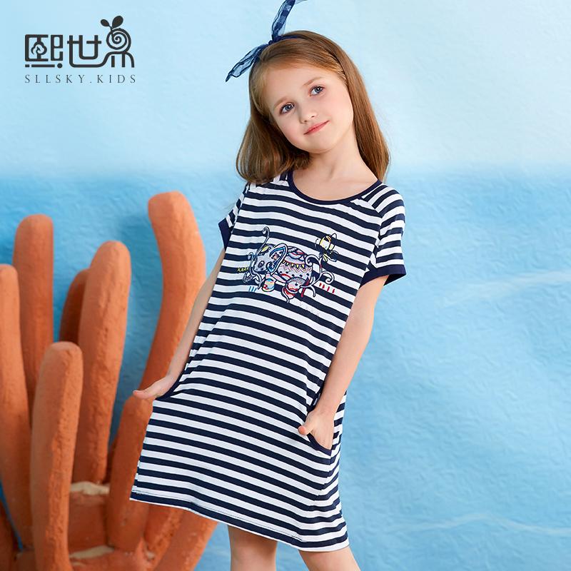 世界童裝條紋女童夏裝短裙裙子連衣裙兒童
