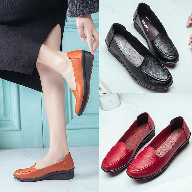 單鞋中老年防滑皮鞋女鞋夏季中年老人鞋軟底平底媽媽