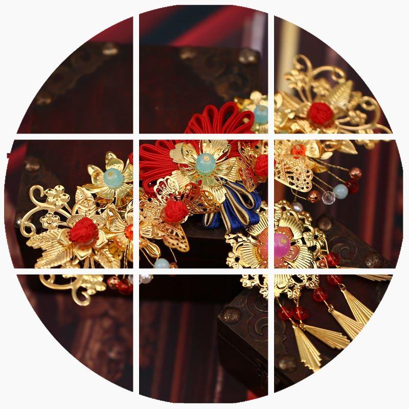 新娘古装红色头饰结婚头饰中式秀禾服礼服三件套流苏配饰套装包邮