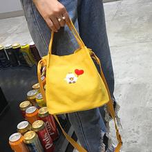 新款 潮文艺百搭刺绣手提单肩斜挎包女士包帆布水桶小包 2017日韩版