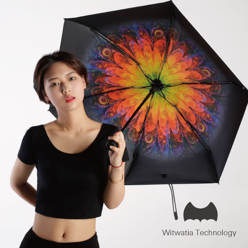黑胶遮阳伞防紫外线创意太阳伞五折叠晴雨伞防晒韩国小黑伞小清新