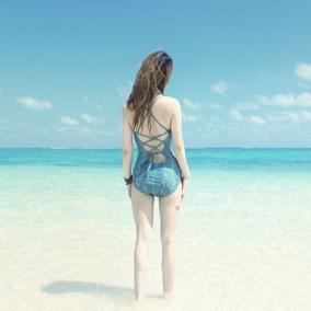 简暗-韩国温泉bikini小胸聚拢死库水连体遮肚显瘦保守游泳衣女士