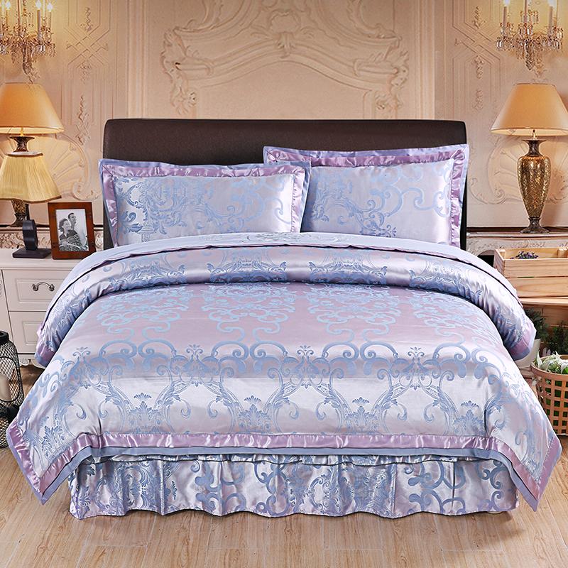 绗缝夹棉高档床罩裙式四件套纯棉欧式加棉床笠加厚保暖奢华款婚庆