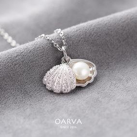 s925纯银项链女锁骨链贝壳镶钻珍珠吊坠韩版创意时尚百搭生日礼物