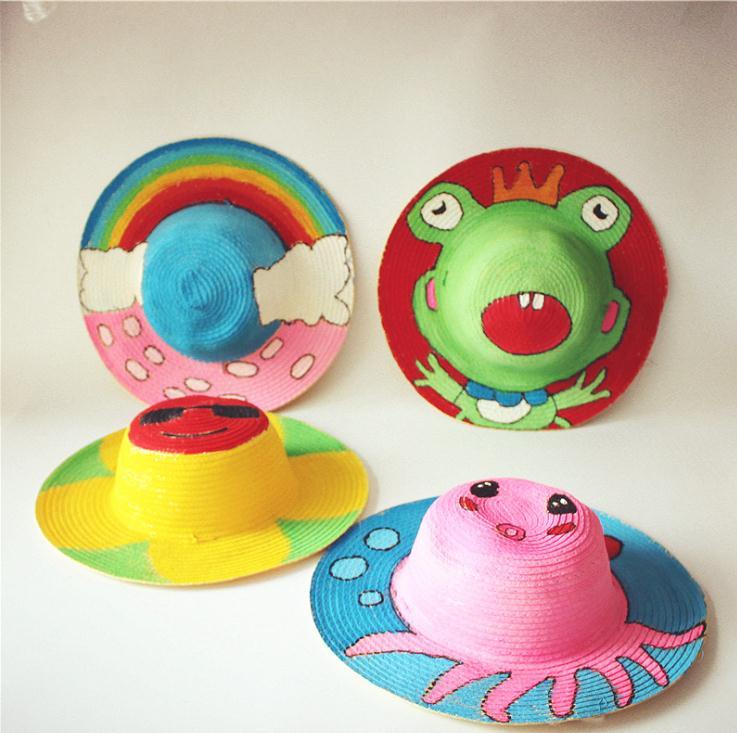 幼儿园绘画草帽创意diy手工美术墙面布置装饰材料画涂鸦草编帽子图片