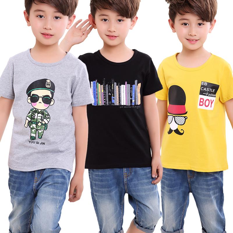 儿童纯棉夏季中大童童装短袖夏装恤韩版男童宝宝