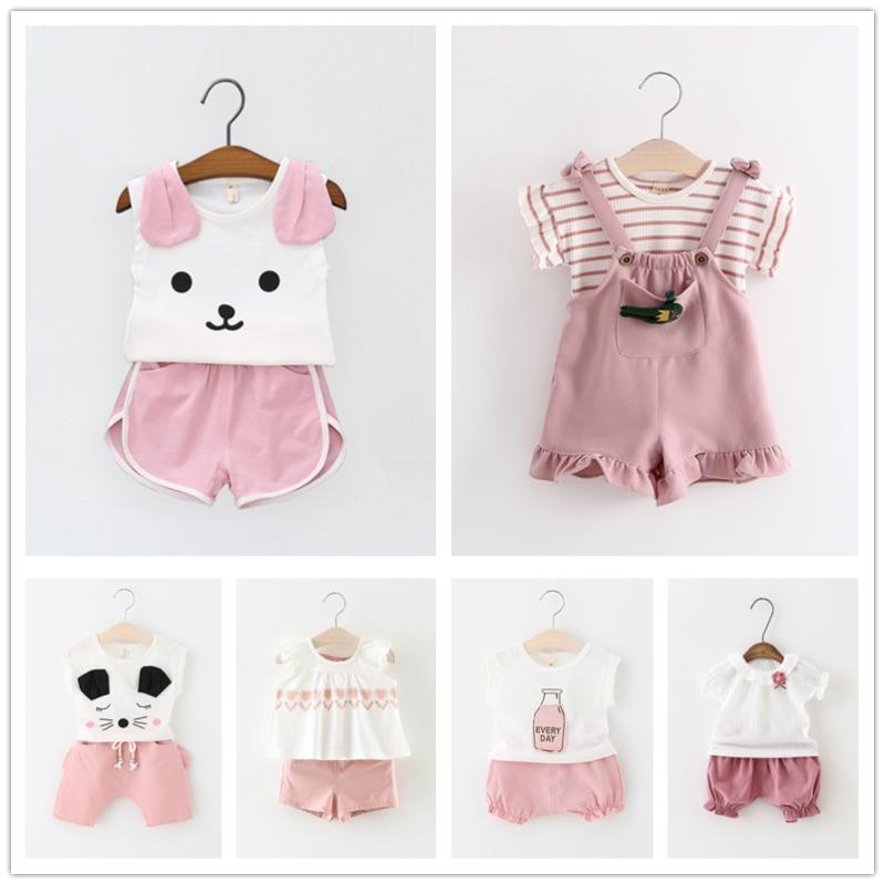 衣服嬰兒兒童兩件套背心寶寶短褲小孩 女童夏裝童裝套裝