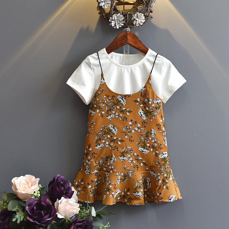 童裝夏裝套裝夏季 女童兩件套裙子 吊帶短袖 韓版