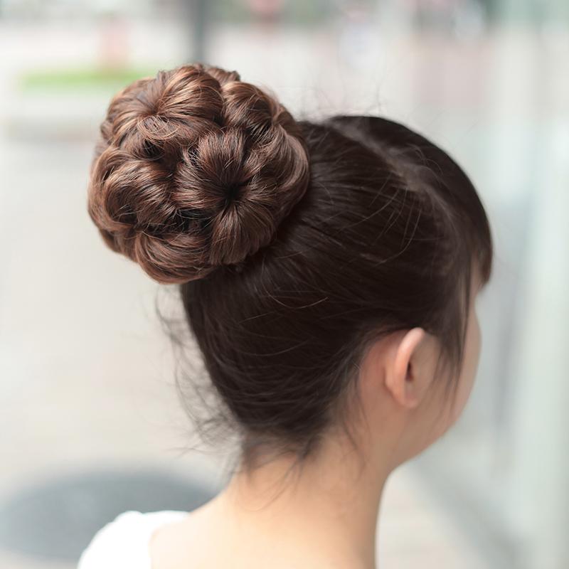半丸子头假发包女盘发器花苞头花新娘盘发古装发圈蓬松卷发假发圈