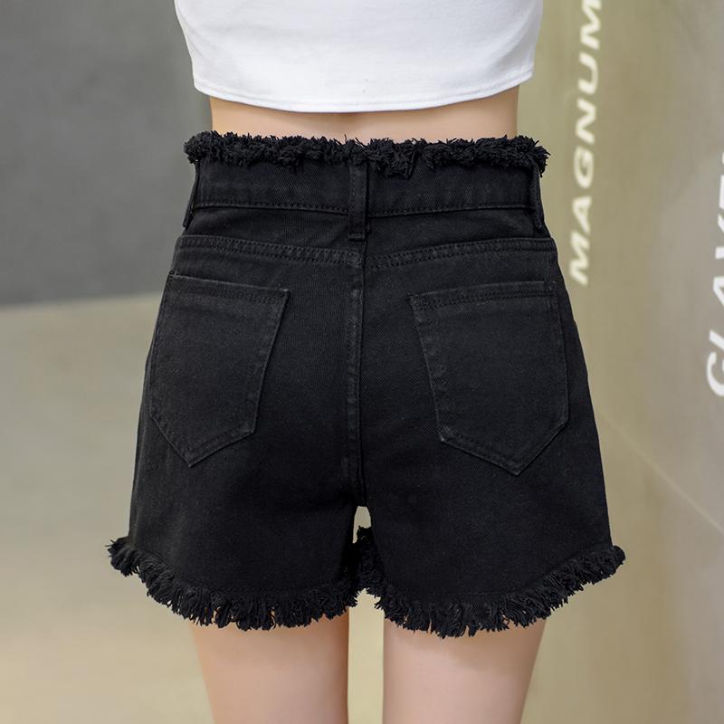夏女韓版褲子牛仔高腰白色短褲毛邊寬松學生熱褲