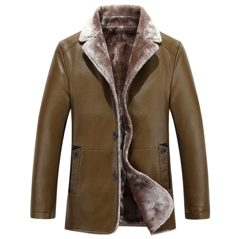 皮毛一体绵羊皮皮衣男士加绒加厚保暖休闲翻领中年爸爸冬季装包邮