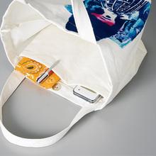日本进口简约不易沾水棉帆布包带拉链双口袋午餐包手提包小中大号