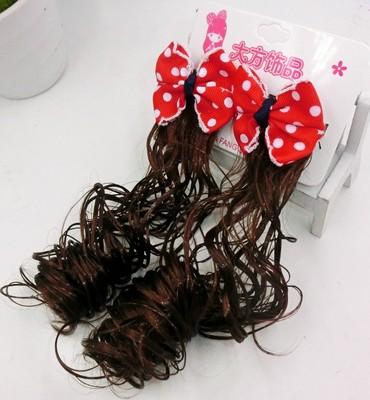 新款儿童头饰假发辫子一对长卷发马尾女童蝴蝶结发夹宝宝发饰发夹