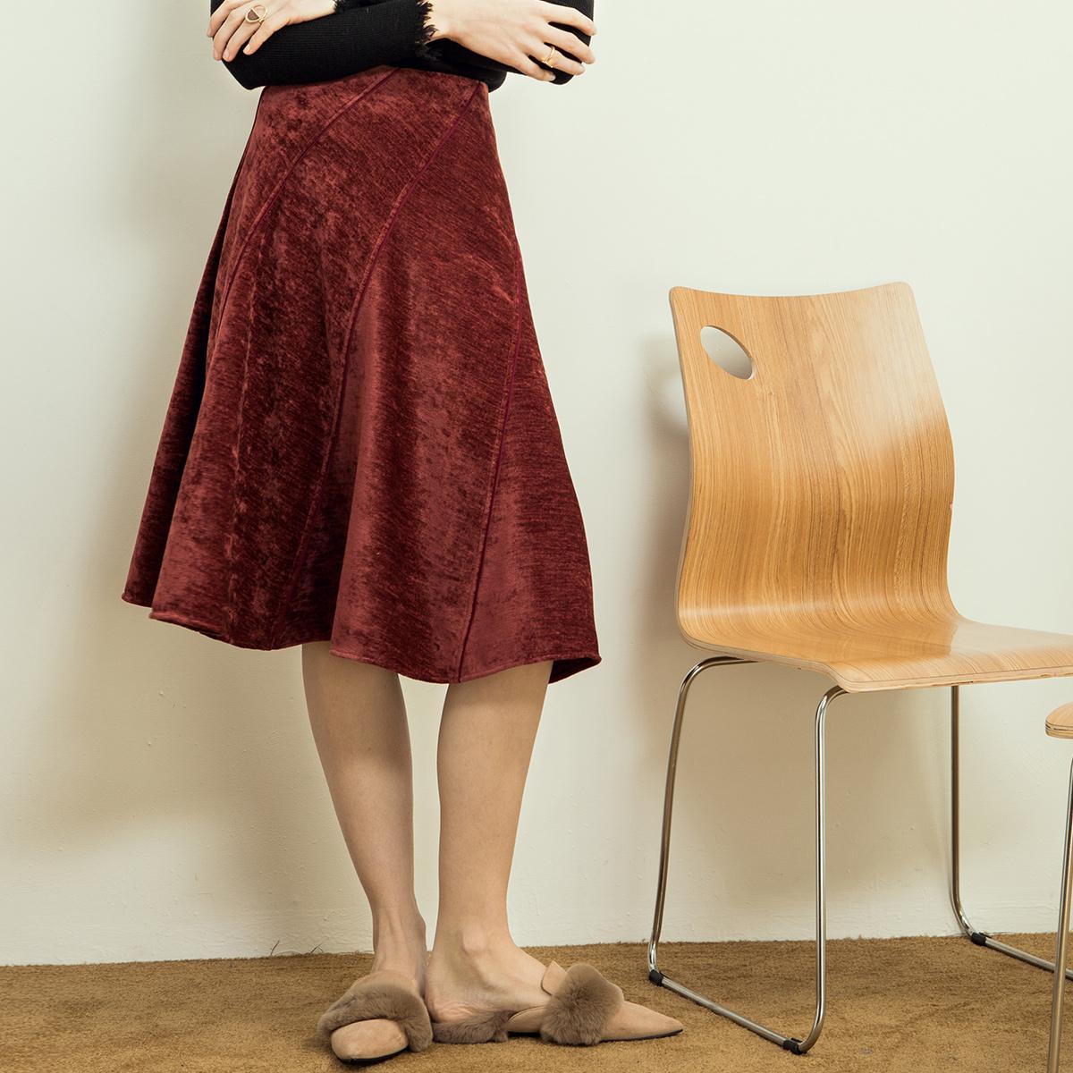 相对纶/梦/酒红色大摆丝绒半身裙秋冬 双面法国绒高腰伞裙a字裙