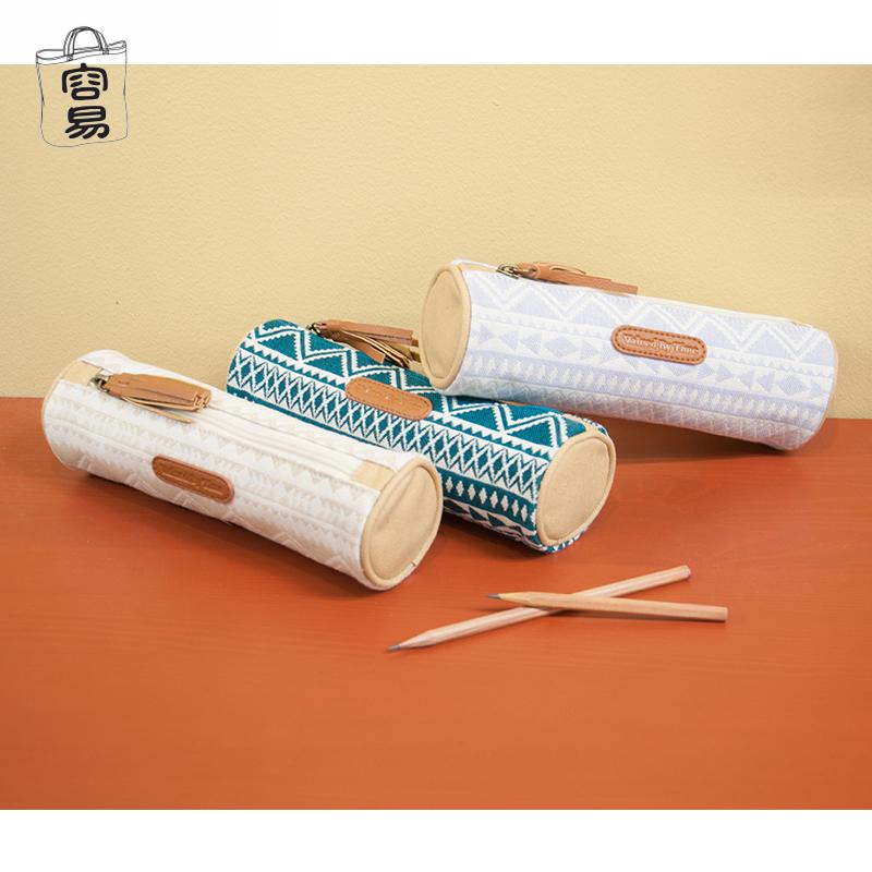 文具盒原创民族容易铅笔容量布笔袋大简约学生圆筒风帆文艺