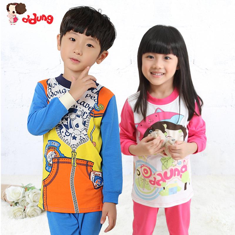 韩国冬已春秋季儿童睡衣男童女童家居服长袖宝宝亲子保暖内衣套装