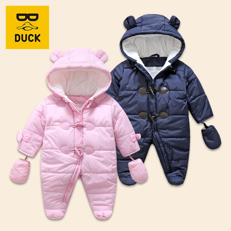 冬装童装男女宝宝衣服夹棉加厚连体衣哈衣婴儿保暖可爱外出爬服潮