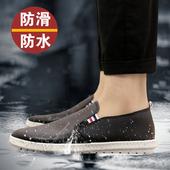 韩版低帮雨鞋夏季男士水鞋厨房套脚皮鞋厨师鞋防水防滑防油工作鞋