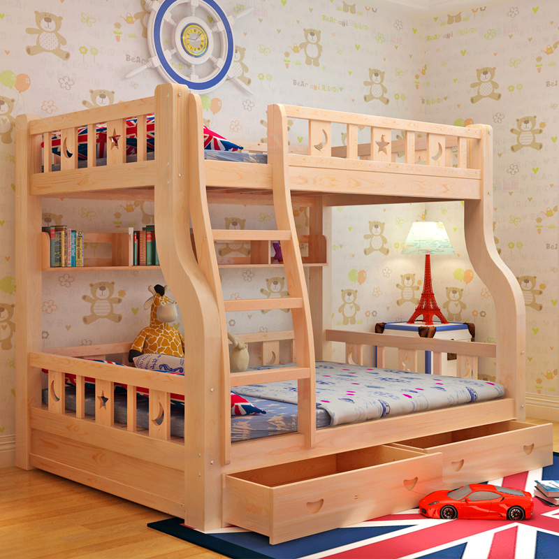 子母床上下床儿童床高低床双层床母子床大人上下铺木床实木上下床