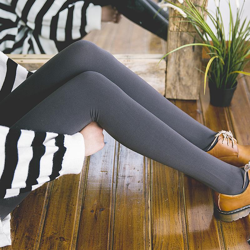 日本压力瘦腿袜秋冬加厚保暖连裤袜自发热打底袜显瘦哑光毛圈袜子