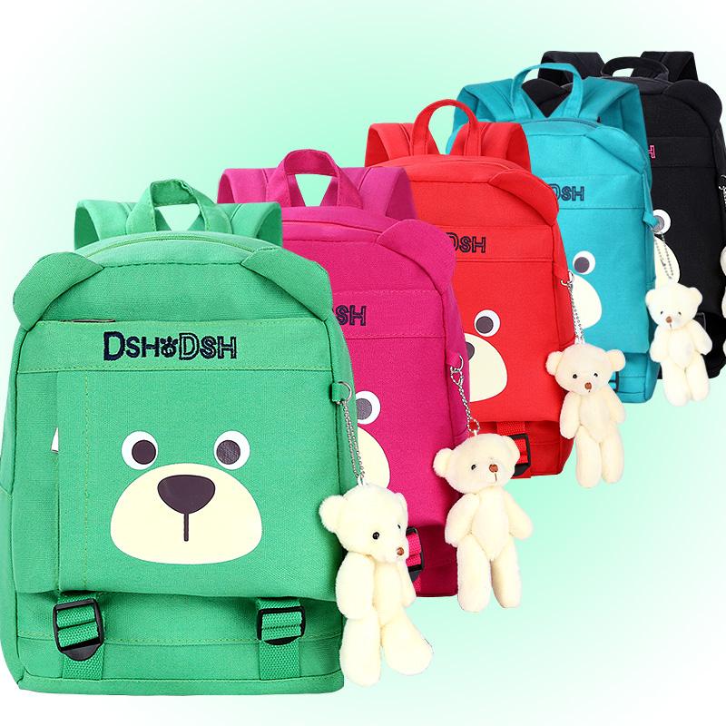 新款3-6岁5男女儿童双肩背包可爱卡通小熊幼儿园小班宝宝帆布书包