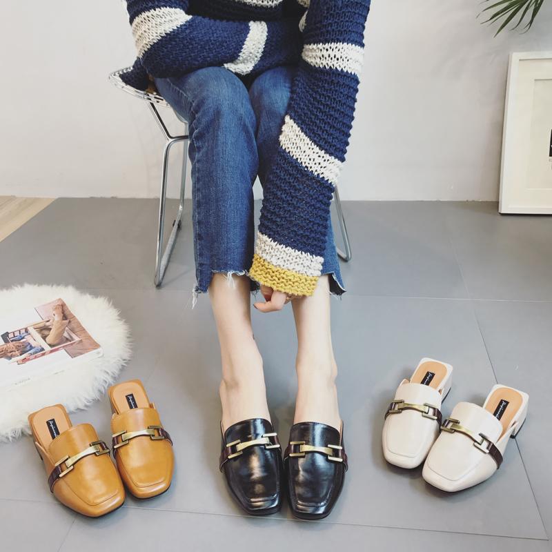 方头包头夏季拖鞋金属时尚中跟外穿百搭