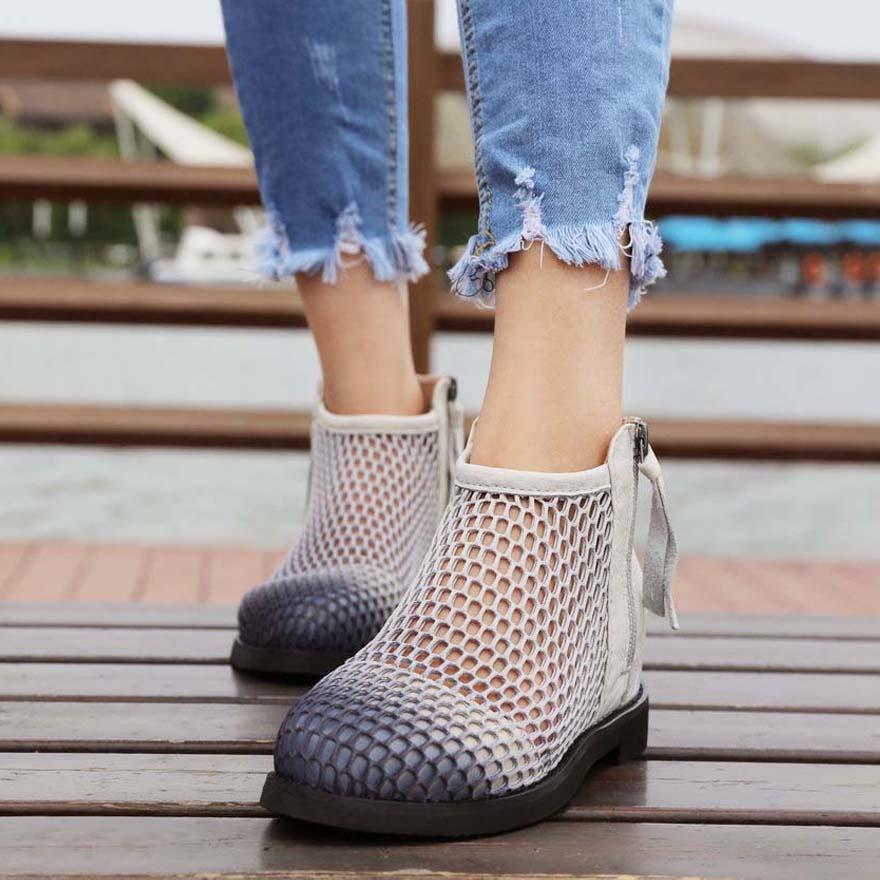 中跟马丁英伦 短靴女夏单靴镂空春秋女鞋增高