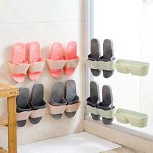 居家家壁挂式立体鞋架墙上拖鞋架子家用客厅简易粘贴式鞋子收纳架