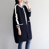 春季新款女装包邮 宽松大码休闲长袖棒球领中长款针织毛衣外套