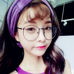 加大号圆脸眼镜框女韩版潮复古圆形平光镜架可配防辐射近视眼睛男
