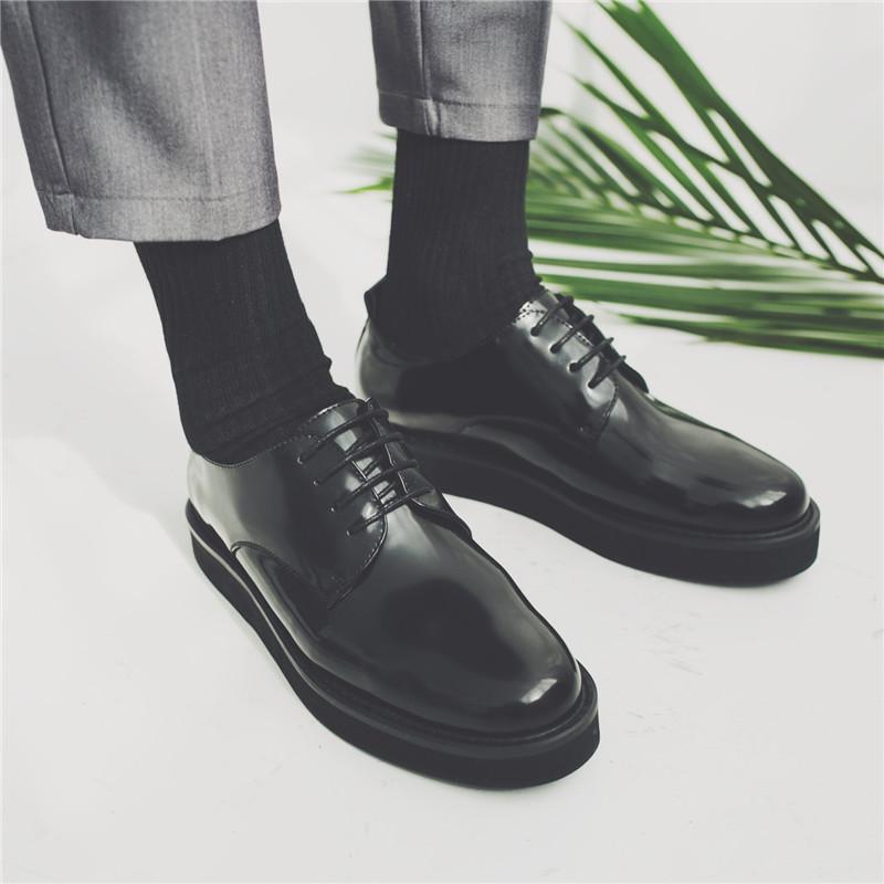 自制款~四季可走款!超百搭厚底休闲皮鞋 韩版潮流松糕漆皮皮鞋