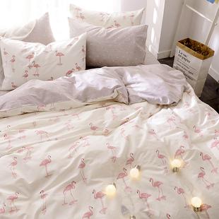 北欧ins床上四件套全棉公主风纯棉1.8m床单被罩被套被子三件套1.5