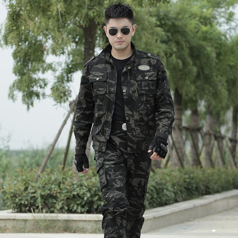 正品纯棉黑鹰迷彩服套装男特种兵加厚耐磨军装野战作训服工作服秋